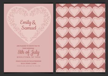 Vector Wedding Invitation with Delicate Heart - Free vector #423375