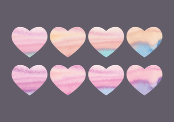 Vector Collection of Watercolor Hearts - бесплатный vector #423395
