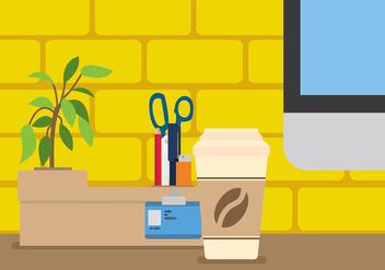 Pen Holder on a Desk Vector - Free vector #423465