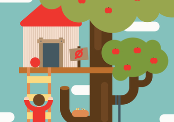 Flat Playful Treehouse Vector - vector gratuit #425155