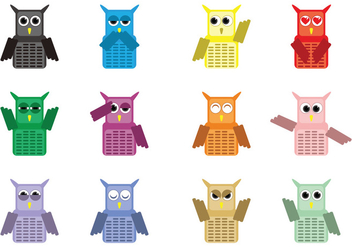 Cute Owl Character Vectors - Free vector #426385