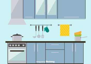 Sleek and Modern Kitchen Vector Illustration - Free vector #426505