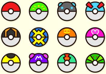 Set Of Poke Ball Pokemon - Kostenloses vector #426555