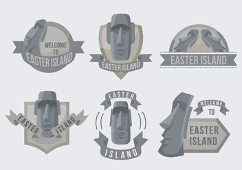 Easter Island Statue Label Illustration Vector - Free vector #426615