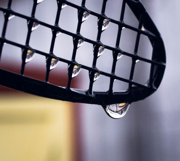 The reflection of my barn in a the drops. - Free image #427405