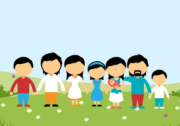 Family on a Hill Background Vector - Free vector #427425
