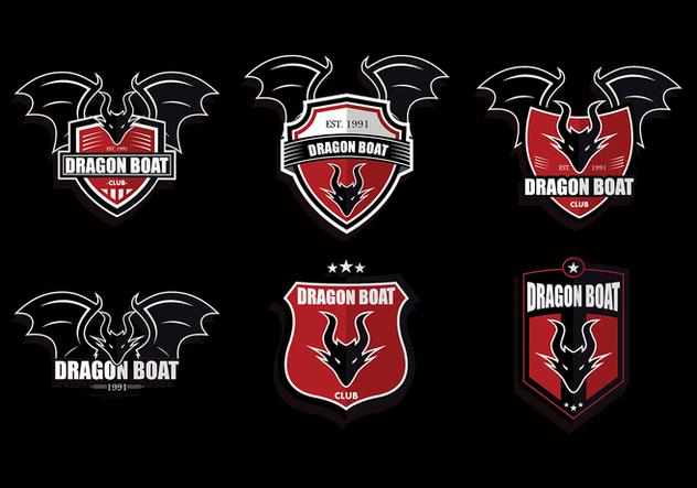Red Dark Dragon Boat Logo Set Vector - Free vector #427465