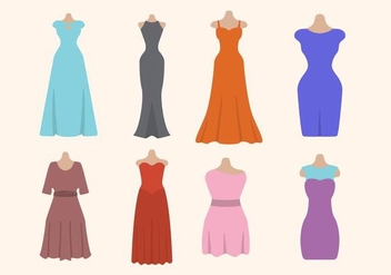 Flat Woman's Dress Vectors - vector gratuit #427505