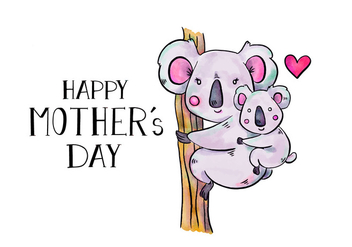 Cute Koala Mom And Son In Tree With Lettering To Mother's Day - Free vector #428275