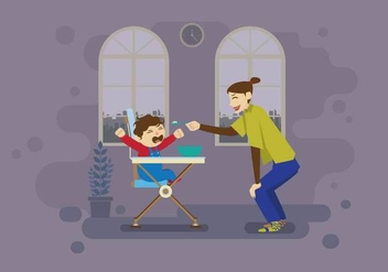 Mother Feeding Her Crying Baby Inside Home Illustration - Free vector #428345