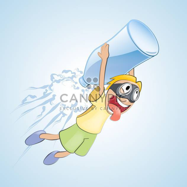 Vector illustration of boy flies with bottle of water on blue background - Free vector #125755