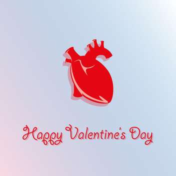 Vector card for Valentine's Day with red realistic heart on blue background - Free vector #125775