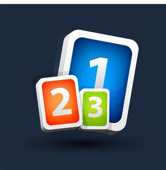 Vector illustration of colorful one two three buttons on dark background - vector gratuit #125825