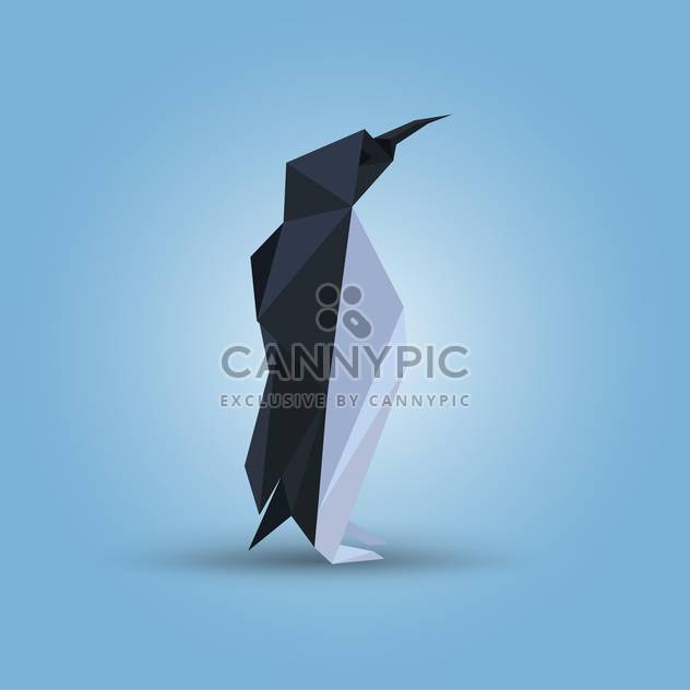 Vector illustration of paper origami penguin on blue background - Free vector #125835