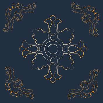 Vintage background with golden floral elements on dark blue background - Free vector #125855