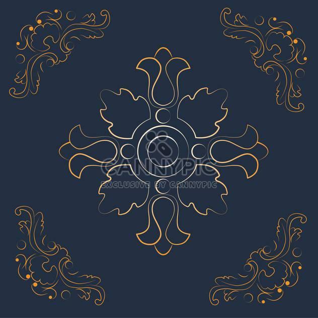 Descargar vector fondo vintage con elementos florales for Fondo azul oscuro
