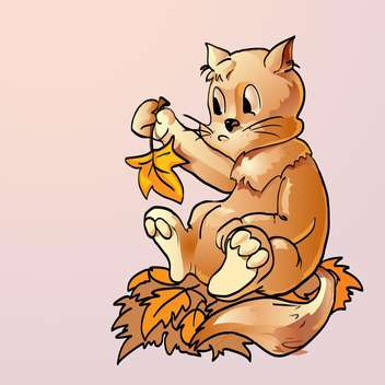 colorful illustration of surprised cat with autumn leaves on pink background - Kostenloses vector #125895