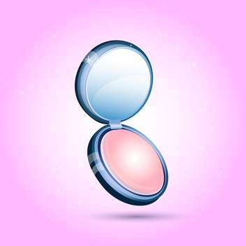colorful illustration of compact female cosmetic powder on pink background - Free vector #125915