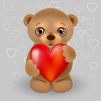 Vector illustration of teddy bear with big red heart - бесплатный vector #126005