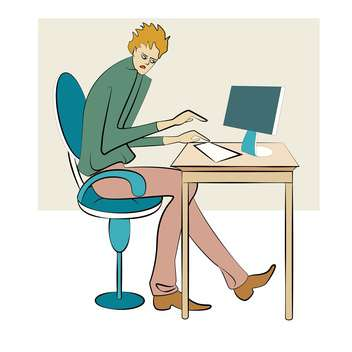 Vector illustration of businessman working on computer in office - vector gratuit #126015