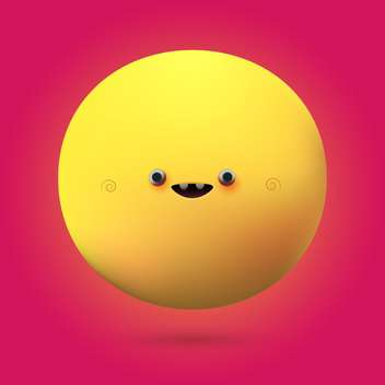 Vector illustration of yellow cute face on pink background - vector gratuit #126025