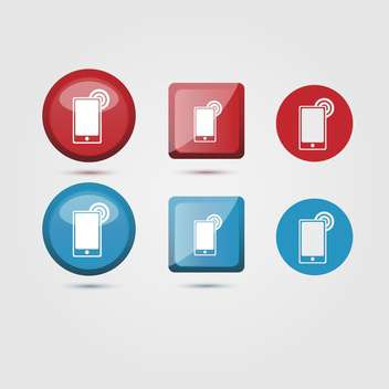 Vector set of mobile phone icons on white background - vector gratuit #126055