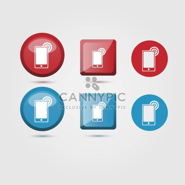 Vector set of mobile phone icons on white background - Free vector #126055
