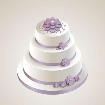 Vector illustration of wedding cake with flowers on white background - vector gratuit #126085