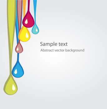 Vector background with colored flowing drops on white background - vector gratuit #126095