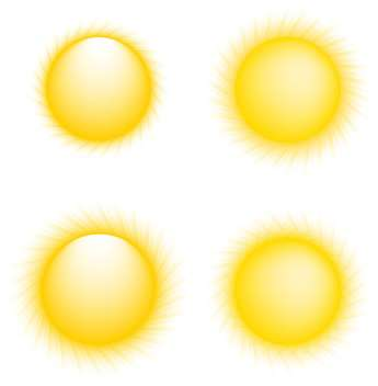 Vector illustration of yellow sun collection icons on white background - Free vector #126125
