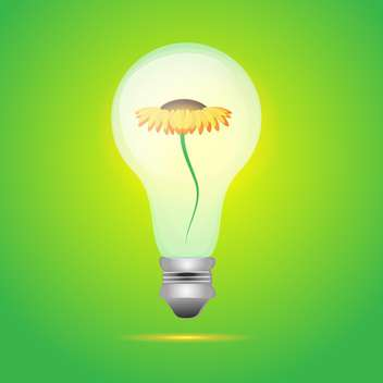 colorful illustration of yellow flower in bulb on green background - vector gratuit #126135