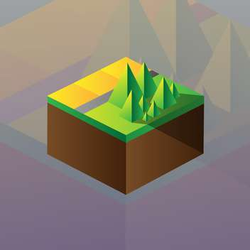 Vector illustration of square maquette of mountains on colorful background - vector gratuit #126185