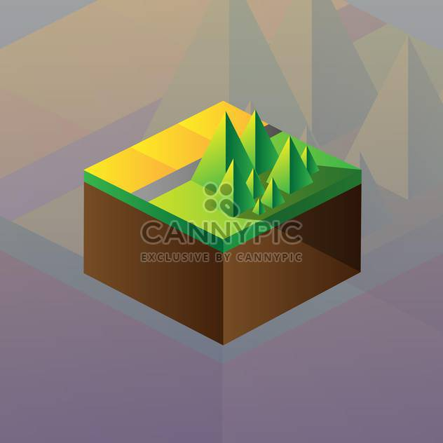 Vector illustration of square maquette of mountains on colorful background - Free vector #126185