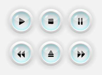 Vector set of six round media buttons on white background - vector #126195 gratis