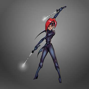 Vector illustration of red hair ninja woman weapon in hands on grey background - Free vector #126215