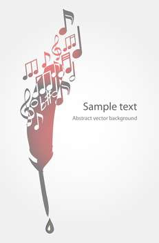 Vector illustration of feather and music notes on white background with text place - vector gratuit #126225