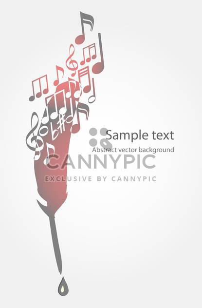 Vector illustration of feather and music notes on white background with text place - Free vector #126225