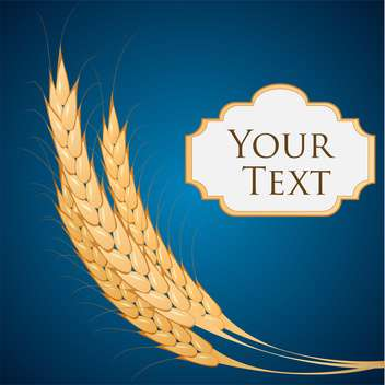 Vector background with ears of wheat and text place on blue background - vector gratuit #126265