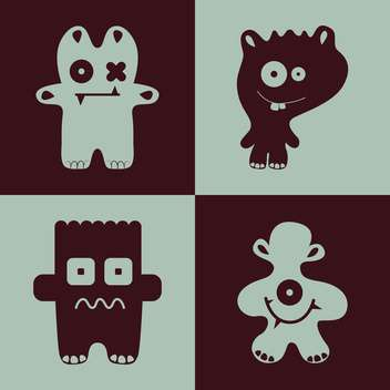 Vector collection of cartoon funny monsters - vector gratuit #126275