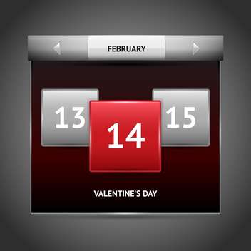 Vector illustration of red color Valentine's day on calendar. - vector gratuit #126305