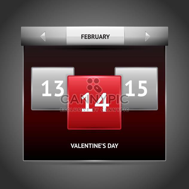 Vector illustration of red color Valentine's day on calendar. - Free vector #126305
