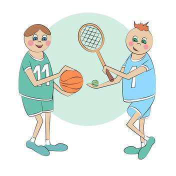 Vector illustration of two cartoon sportsmen together - Free vector #126315