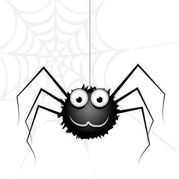 Vector cute black spider on white background - бесплатный vector #126325