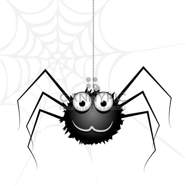 Vector cute black spider on white background - Free vector #126325
