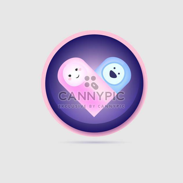 Vector heart shape baby icon on white background - Free vector #126415