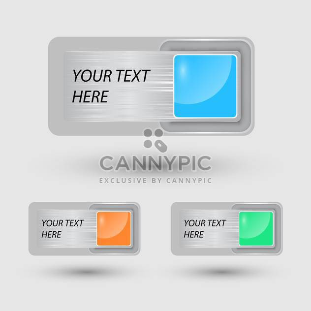 Vector set of colorful web buttons on grey background with text place - Free vector #126465