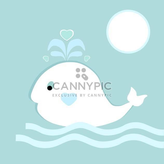 Vector illustration of blue background with cute whale on waves - Free vector #126495