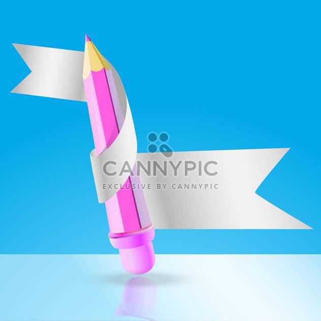 Vector illustration of pink pencil with white ribbon on blue background - Free vector #126505