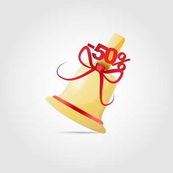 Vector illustration of bell with red bow for sale on white background - Free vector #126525