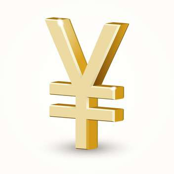 Vector illustration of golden yen sign on white background - Free vector #126545